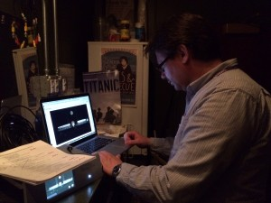 Zoran Illic monitoring the overflow feed from the Cahn Auditorium booth.